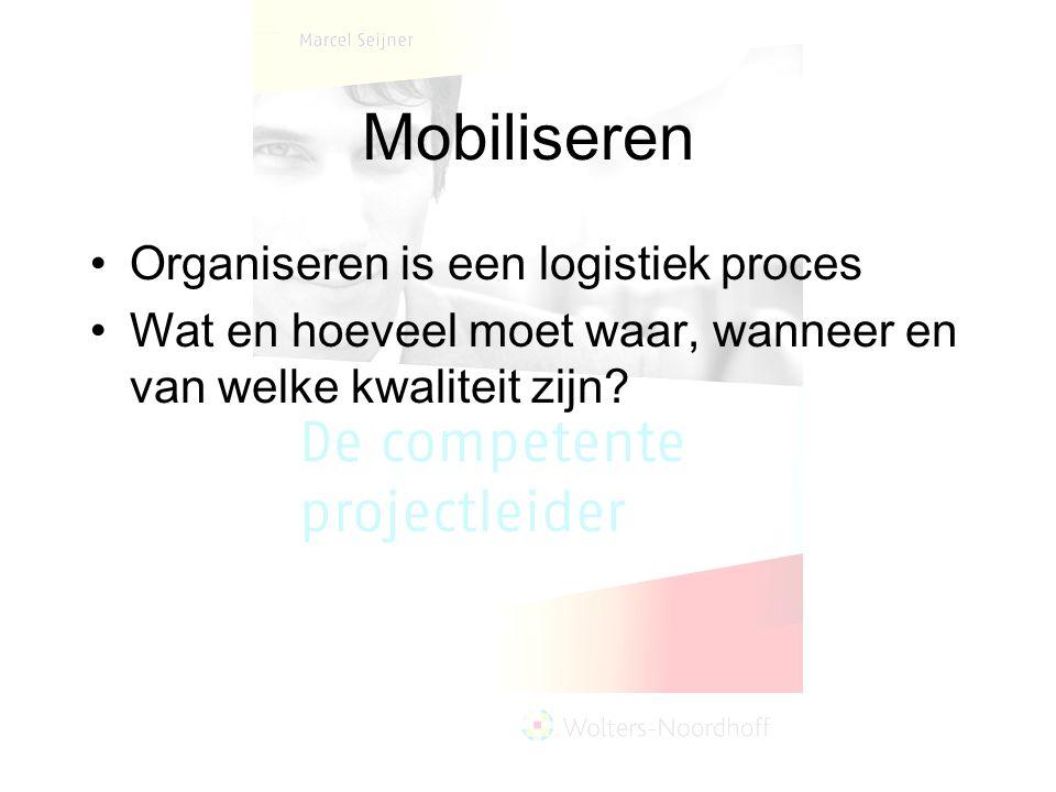 Mobiliseren Organiseren is een logistiek proces Wat en hoeveel moet waar, wanneer en van welke kwaliteit zijn?