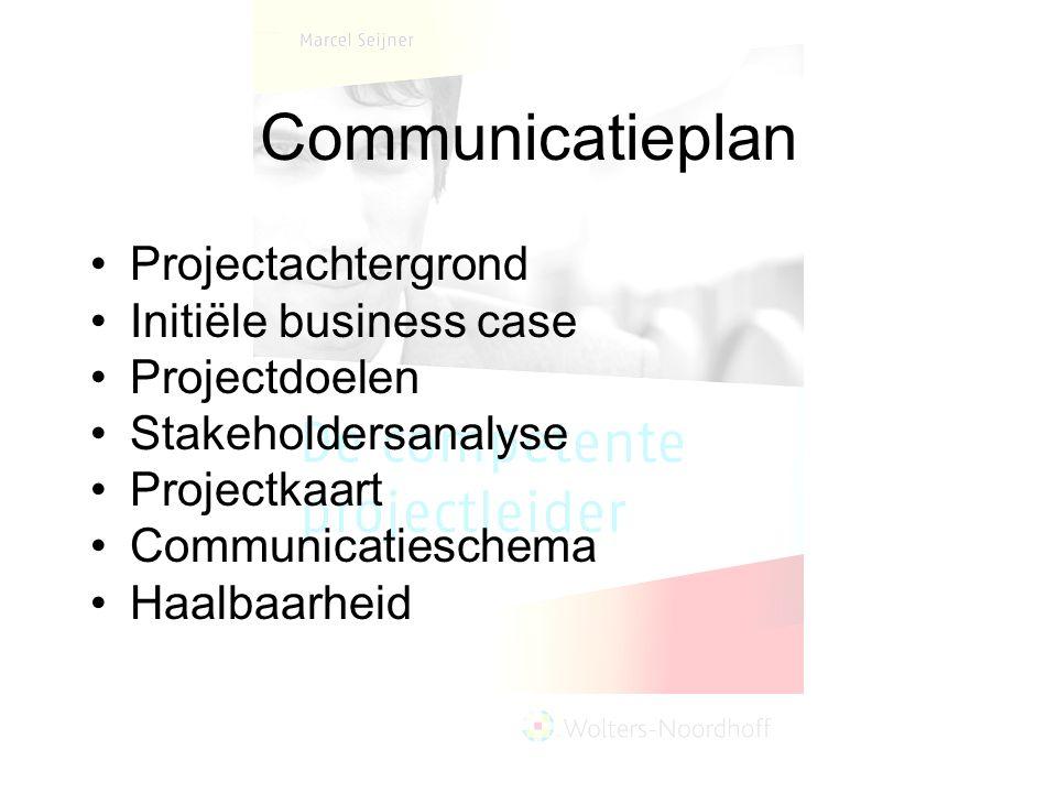 Communicatieplan Projectachtergrond Initiële business case Projectdoelen Stakeholdersanalyse Projectkaart Communicatieschema Haalbaarheid