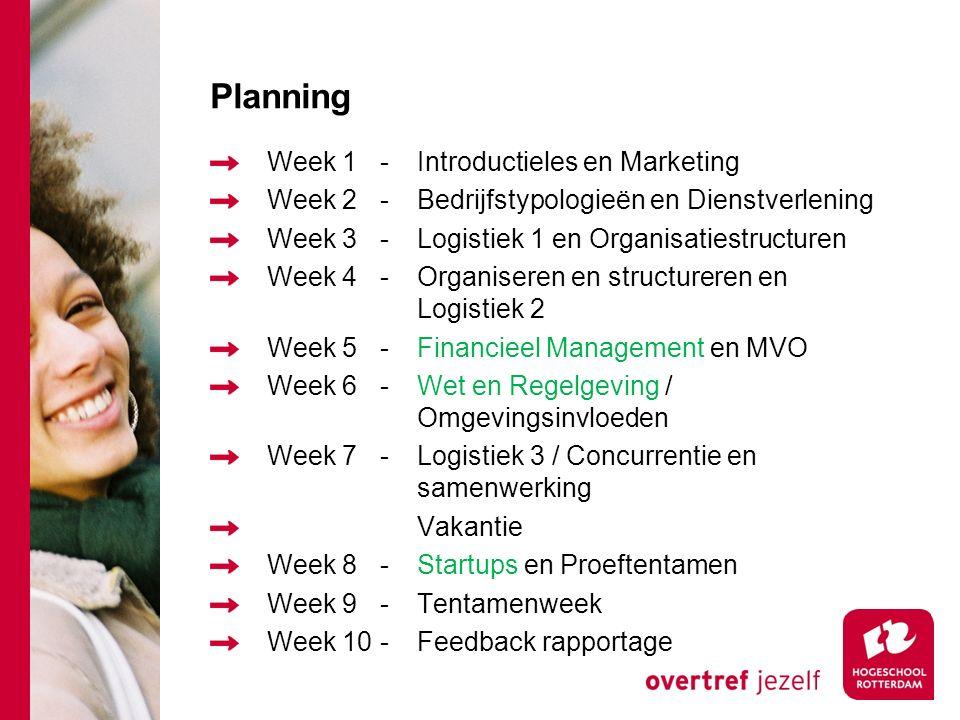 Planning Week 1-Introductieles en Marketing Week 2-Bedrijfstypologieën en Dienstverlening Week 3-Logistiek 1 en Organisatiestructuren Week 4-Organiseren en structureren en Logistiek 2 Week 5-Financieel Management en MVO Week 6-Wet en Regelgeving / Omgevingsinvloeden Week 7-Logistiek 3 / Concurrentie en samenwerking Vakantie Week 8-Startups en Proeftentamen Week 9-Tentamenweek Week 10-Feedback rapportage