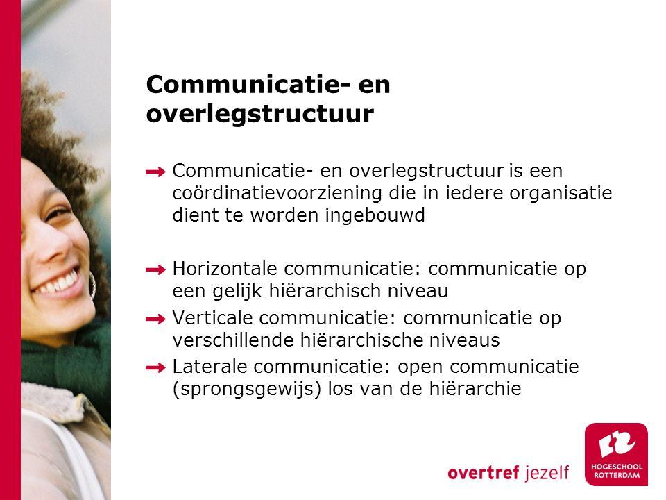 Communicatie- en overlegstructuur Communicatie- en overlegstructuur is een coördinatievoorziening die in iedere organisatie dient te worden ingebouwd Horizontale communicatie: communicatie op een gelijk hiërarchisch niveau Verticale communicatie: communicatie op verschillende hiërarchische niveaus Laterale communicatie: open communicatie (sprongsgewijs) los van de hiërarchie