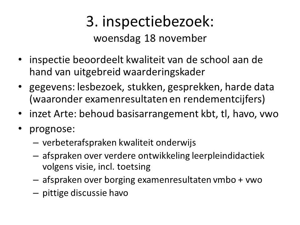 3. inspectiebezoek: woensdag 18 november inspectie beoordeelt kwaliteit van de school aan de hand van uitgebreid waarderingskader gegevens: lesbezoek,