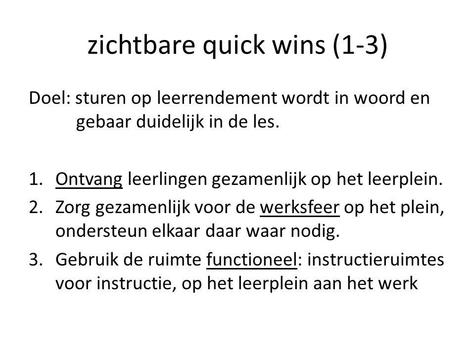 zichtbare quick wins (1-3) Doel: sturen op leerrendement wordt in woord en gebaar duidelijk in de les.