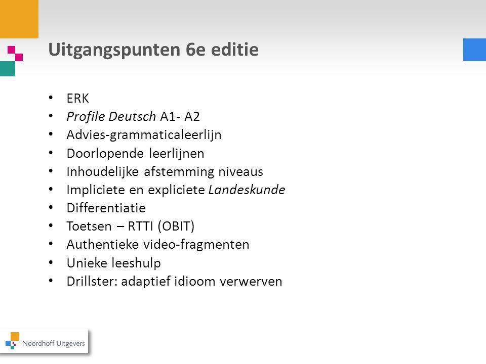 Uitgangspunten 6e editie ERK Profile Deutsch A1- A2 Advies-grammaticaleerlijn Doorlopende leerlijnen Inhoudelijke afstemming niveaus Impliciete en exp