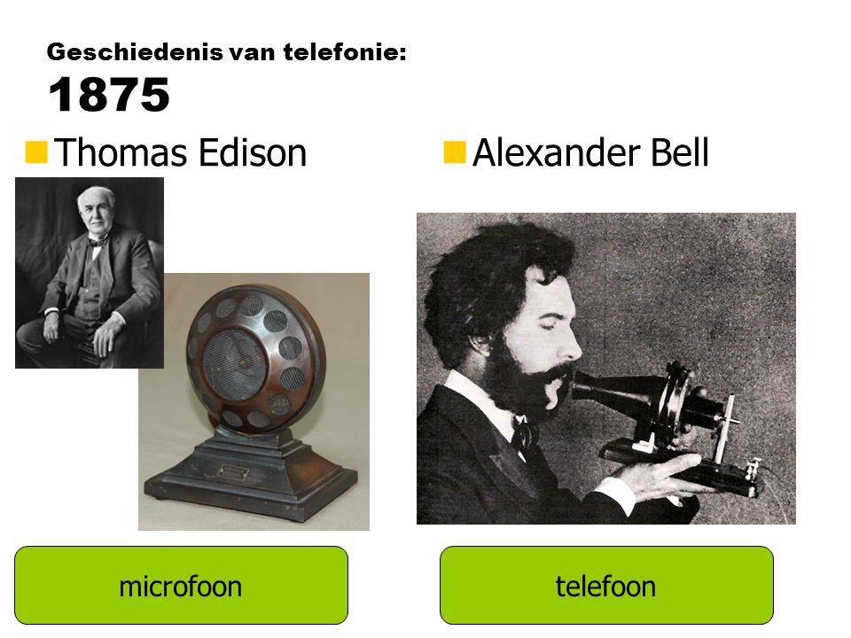 Geschiedenis van telefonie: 1875 microfoontelefoon nThomas EdisonnAlexander Bell