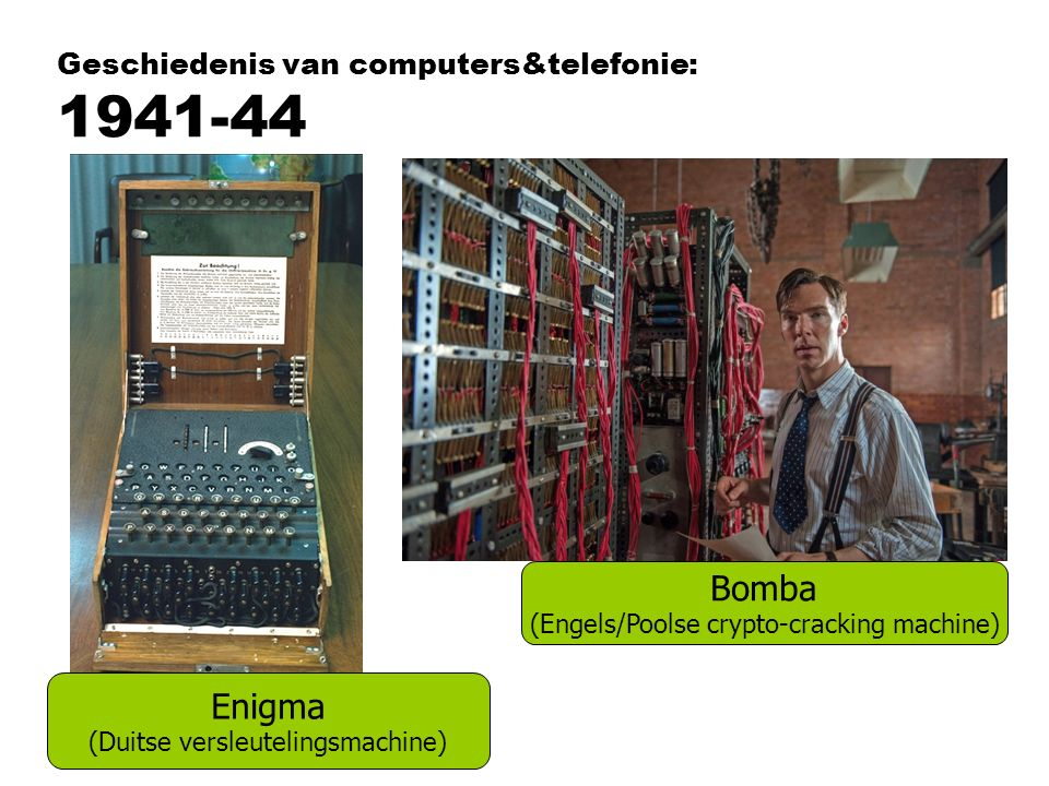 Geschiedenis van computers&telefonie: 1941-44 Enigma (Duitse versleutelingsmachine) Bomba (Engels/Poolse crypto-cracking machine)