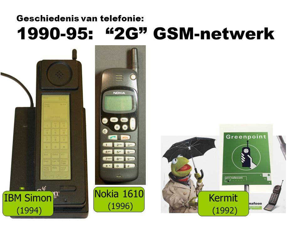 "Geschiedenis van telefonie: 1990-95: ""2G"" GSM-netwerk Nokia 1610 (1996) IBM Simon (1994) Kermit (1992)"