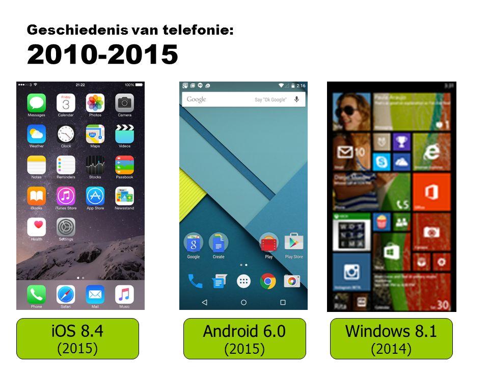 Geschiedenis van telefonie: 2010-2015 iOS 8.4 (2015) Android 6.0 (2015) Windows 8.1 (2014)
