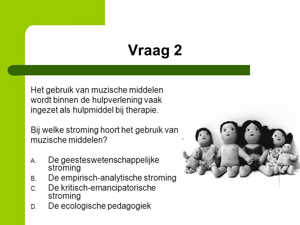Vraag 2 Het gebruik van muzische middelen wordt binnen de hulpverlening vaak ingezet als hulpmiddel bij therapie.