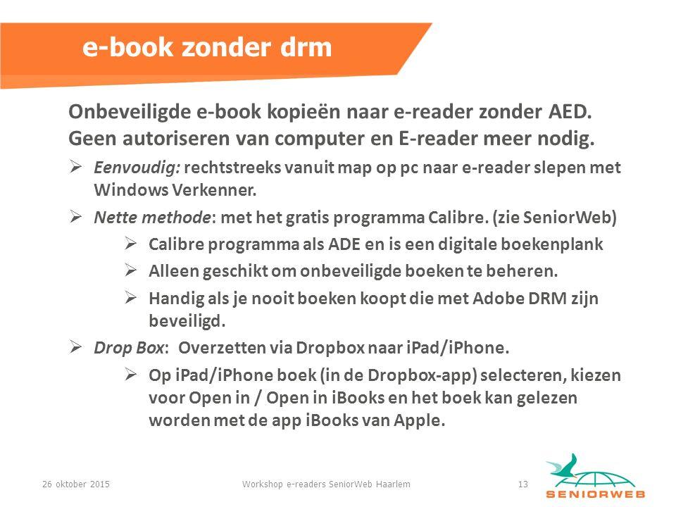 Onbeveiligde e-book kopieën naar e-reader zonder AED.