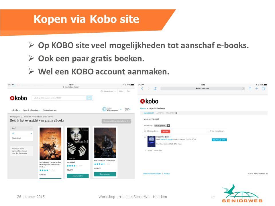  Op KOBO site veel mogelijkheden tot aanschaf e-books.