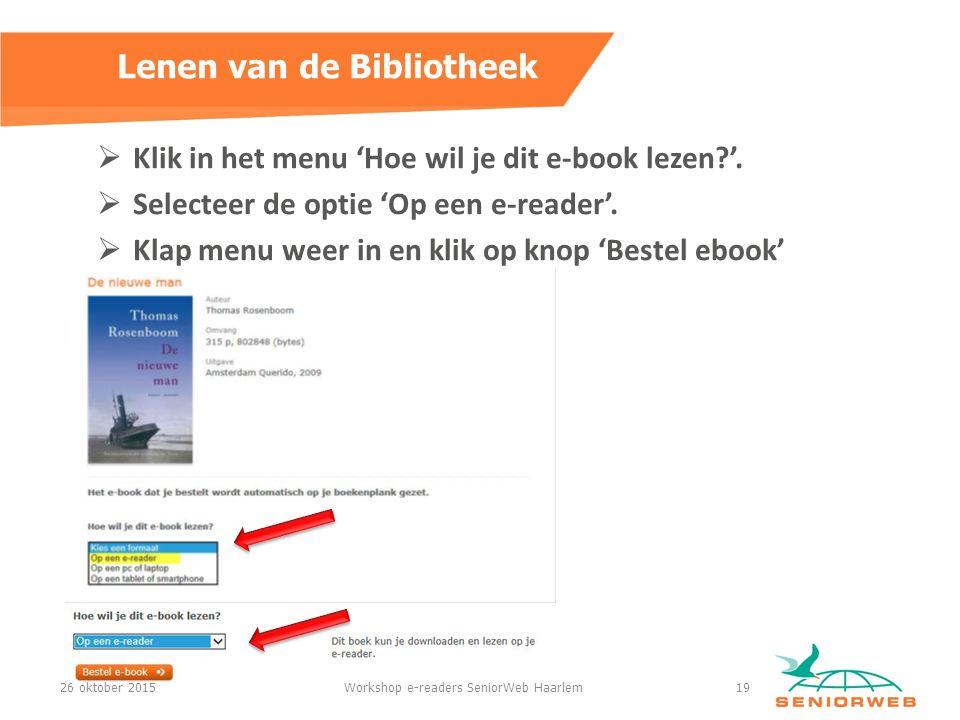  Klik in het menu 'Hoe wil je dit e-book lezen?'.