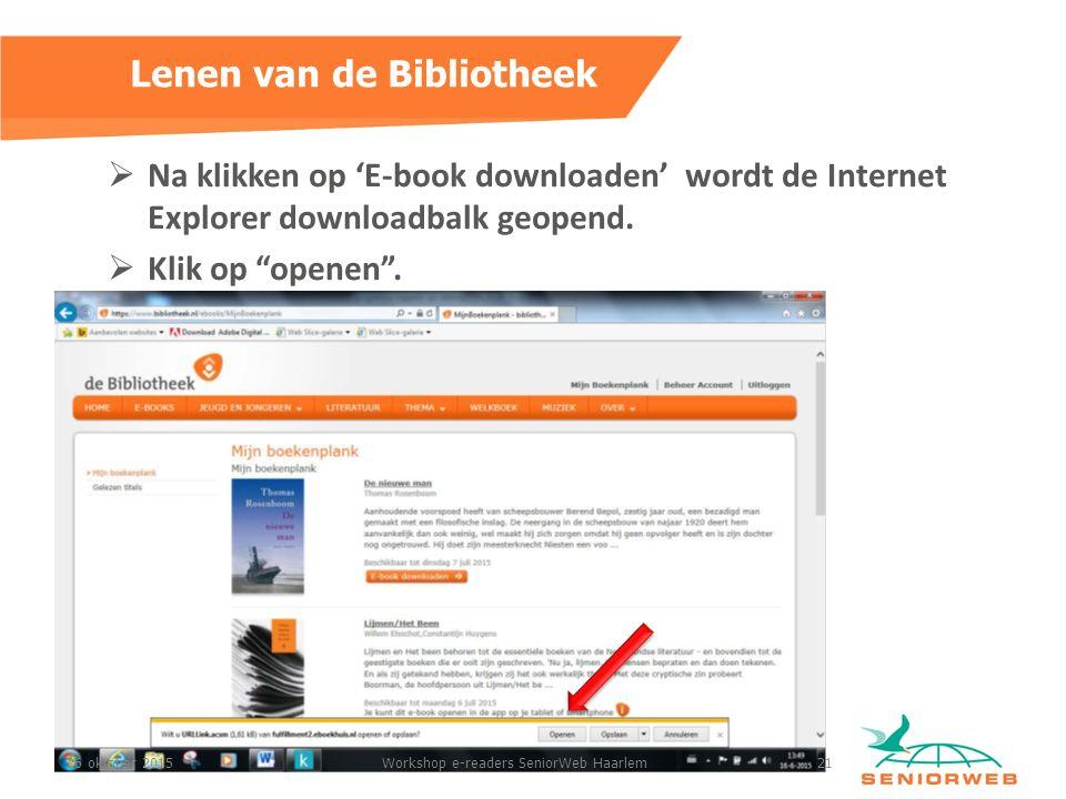  Na klikken op 'E-book downloaden' wordt de Internet Explorer downloadbalk geopend.
