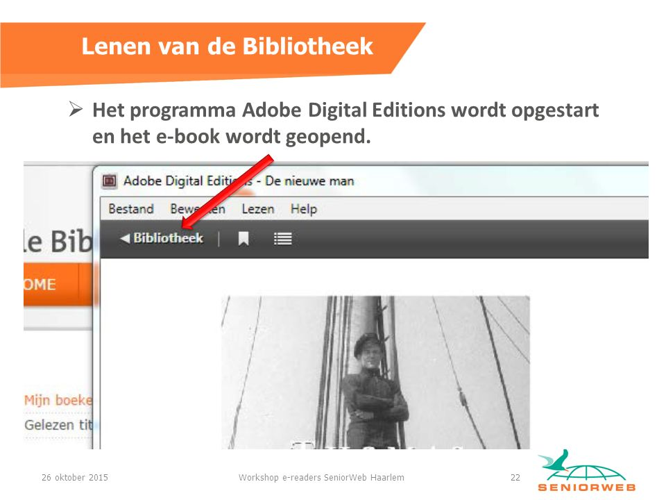  Het programma Adobe Digital Editions wordt opgestart en het e-book wordt geopend.