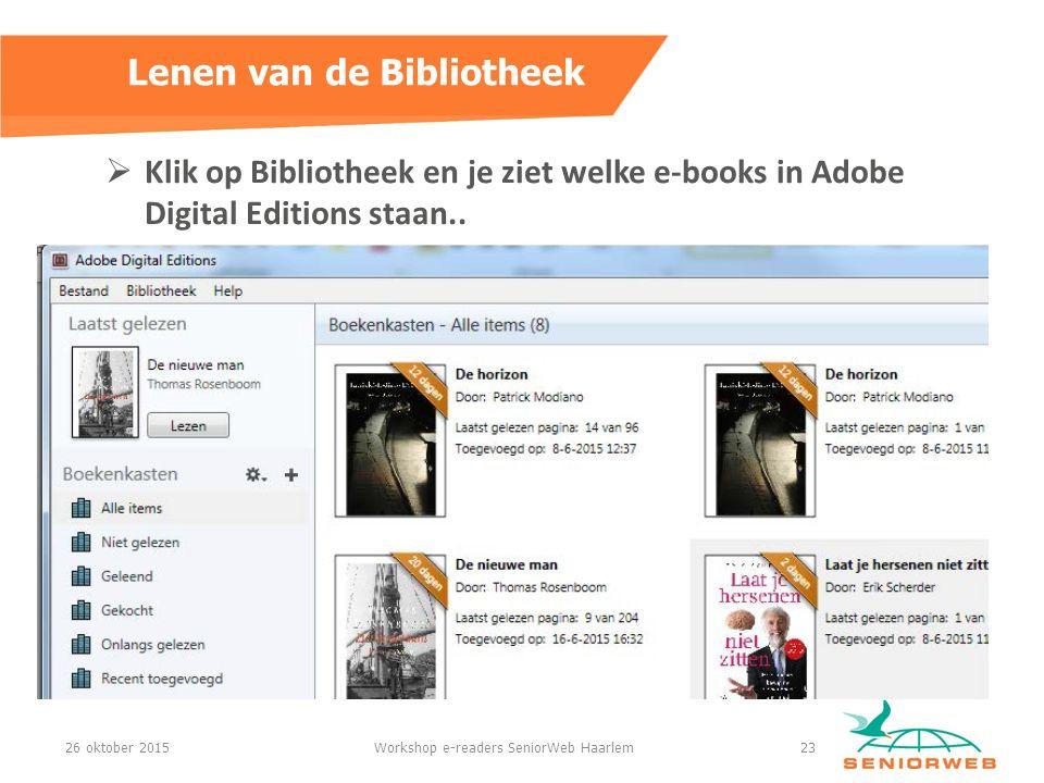  Klik op Bibliotheek en je ziet welke e-books in Adobe Digital Editions staan..