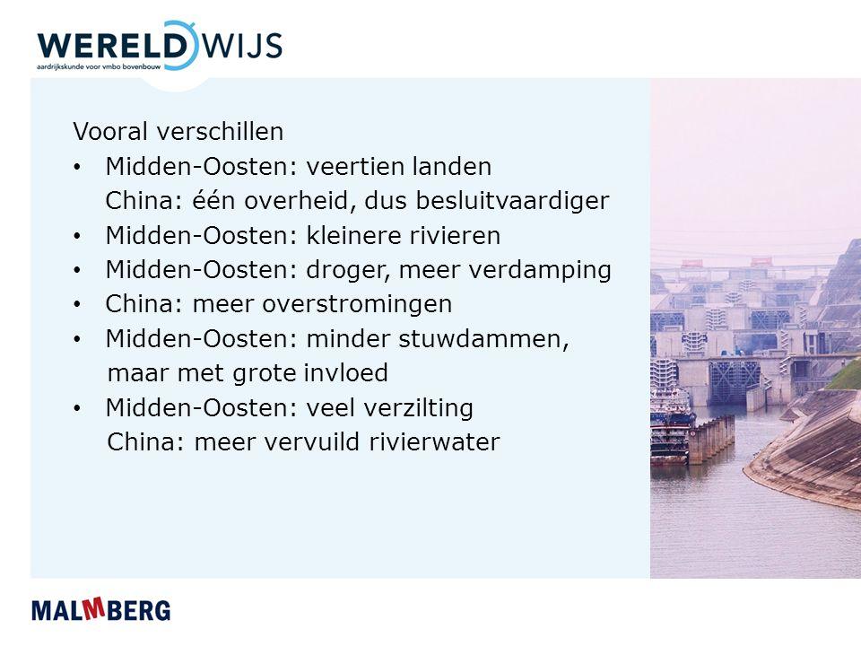 Belang van rivieren voor transport Ander verschil: bevaarbaarheid China: veel transport van mensen en goederen - Blauwe Rivier - Parelrivier Midden-Oosten: alleen op Tigris en Nijl - slechts op de helft van de totale lengte
