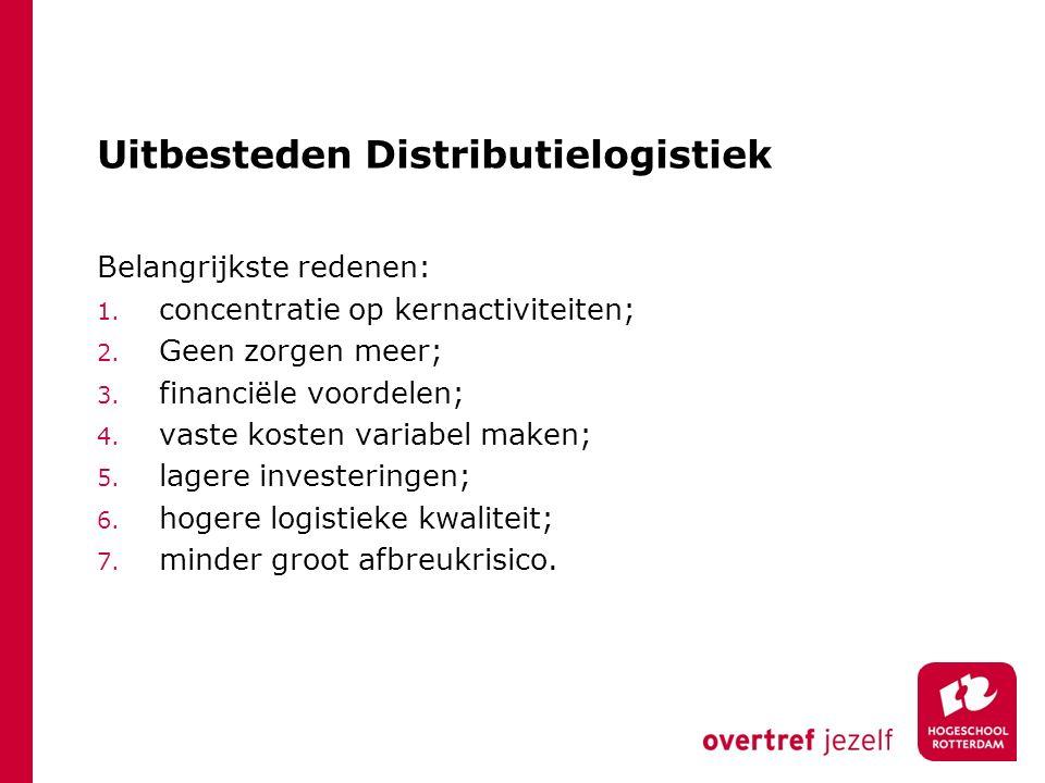 Uitbesteden Distributielogistiek Belangrijkste redenen: 1. concentratie op kernactiviteiten; 2. Geen zorgen meer; 3. financiële voordelen; 4. vaste ko