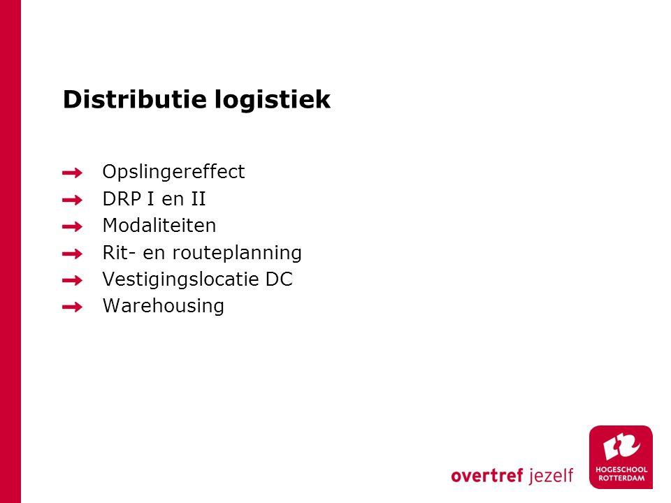Distributie logistiek Opslingereffect DRP I en II Modaliteiten Rit- en routeplanning Vestigingslocatie DC Warehousing