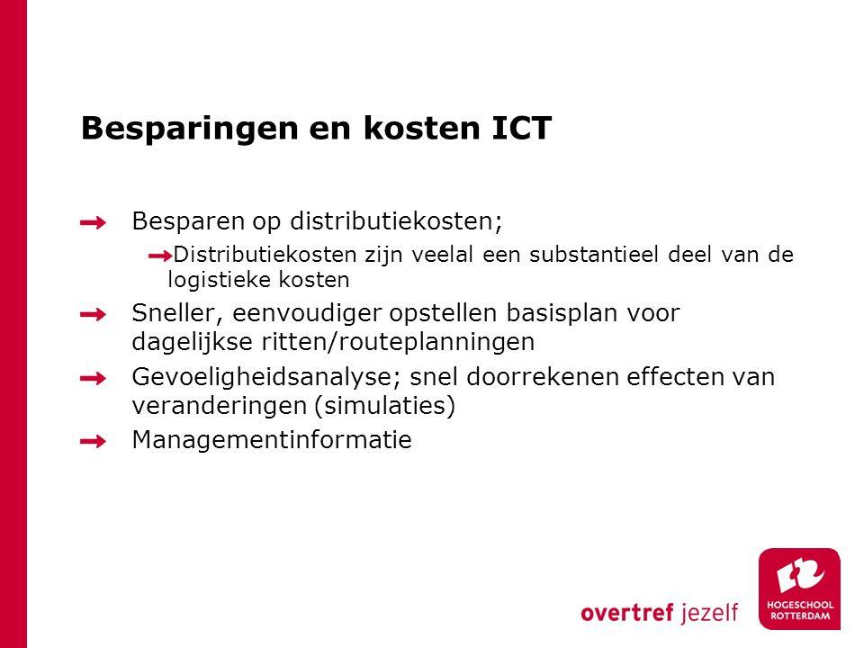 Besparingen en kosten ICT Besparen op distributiekosten; Distributiekosten zijn veelal een substantieel deel van de logistieke kosten Sneller, eenvoud