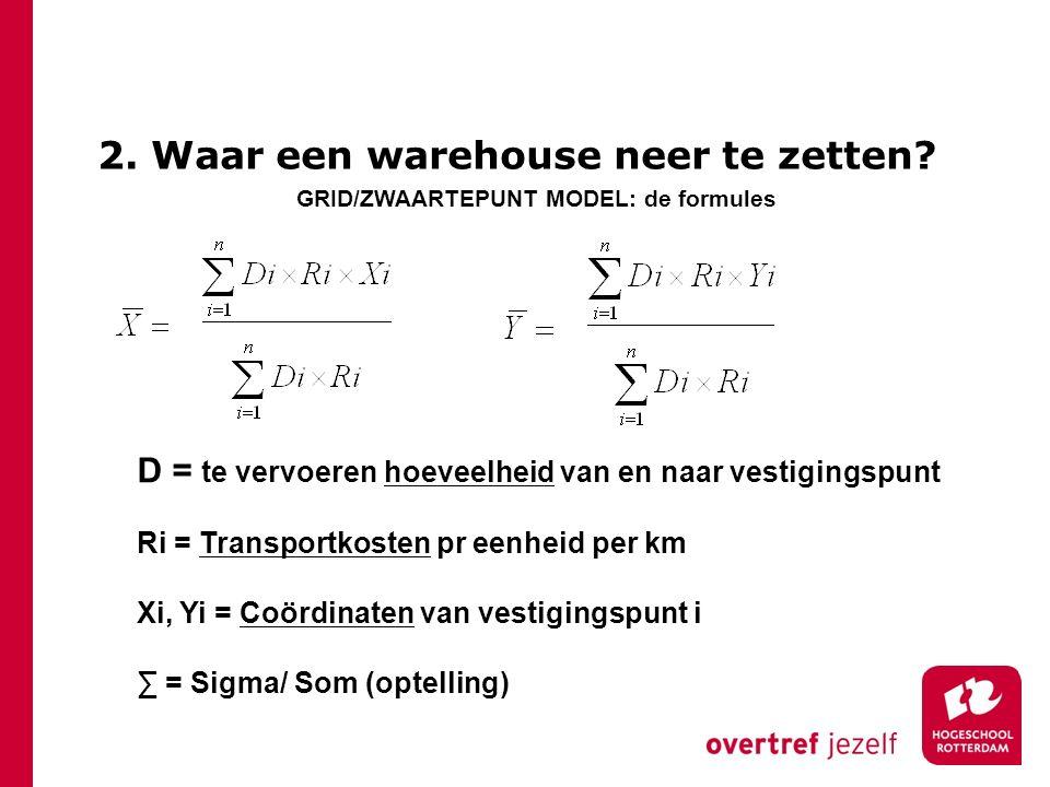 2. Waar een warehouse neer te zetten? D = te vervoeren hoeveelheid van en naar vestigingspunt Ri = Transportkosten pr eenheid per km Xi, Yi = Coördina