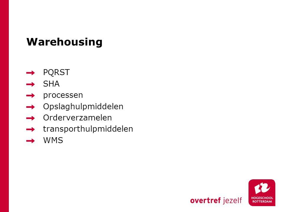 Warehousing PQRST SHA processen Opslaghulpmiddelen Orderverzamelen transporthulpmiddelen WMS