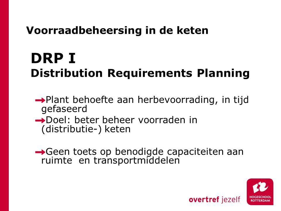 DRP I Distribution Requirements Planning Plant behoefte aan herbevoorrading, in tijd gefaseerd Doel: beter beheer voorraden in (distributie-) keten Ge