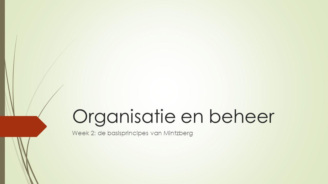 De vijf onderdelen van de organisatie Technos- tructuur Strategi- sche top Mid- den ka- der Ondersteunen- de diensten Uitvoerende kern