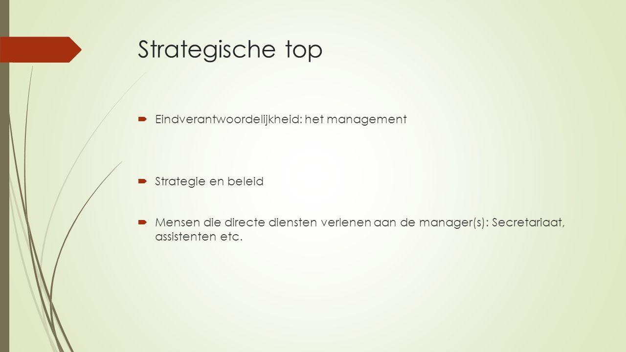Strategische top  Eindverantwoordelijkheid: het management  Strategie en beleid  Mensen die directe diensten verlenen aan de manager(s): Secretaria