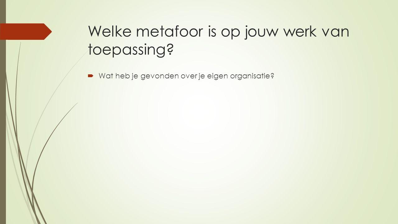 Welke metafoor is op jouw werk van toepassing?  Wat heb je gevonden over je eigen organisatie?
