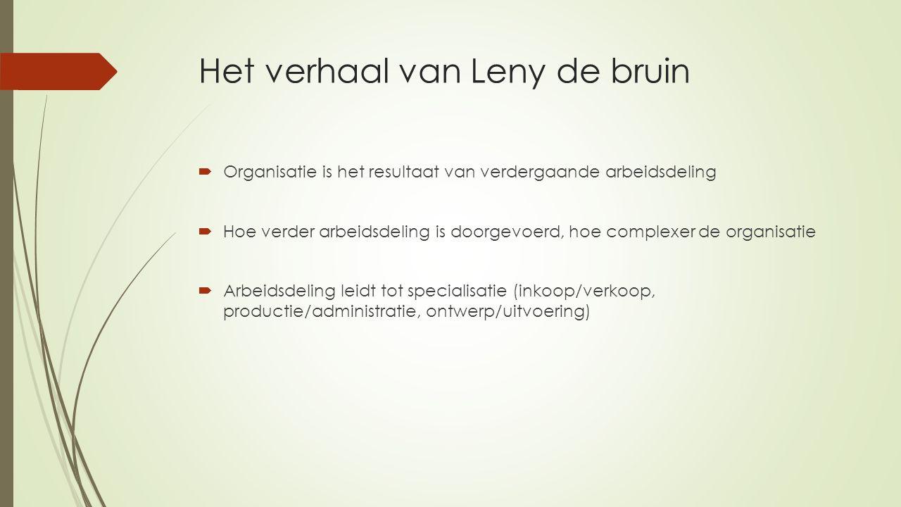 Het verhaal van Leny de bruin  Organisatie is het resultaat van verdergaande arbeidsdeling  Hoe verder arbeidsdeling is doorgevoerd, hoe complexer d