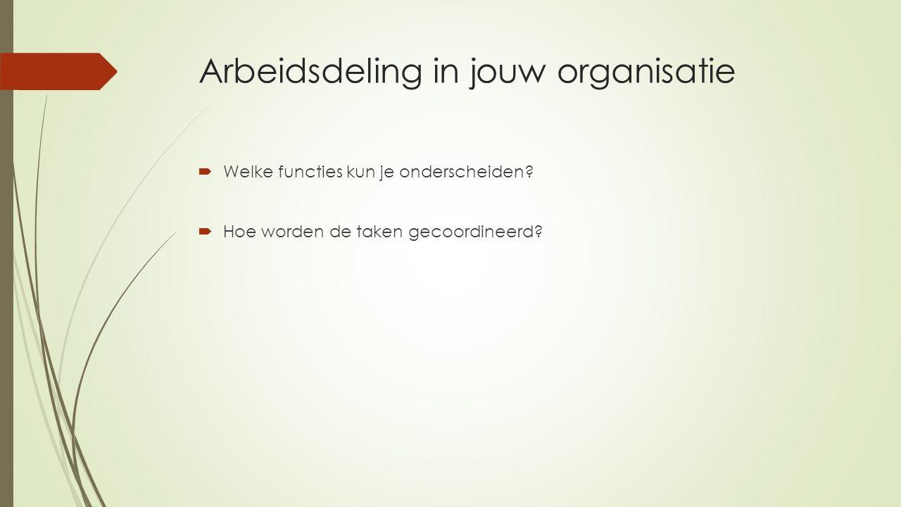 Arbeidsdeling in jouw organisatie  Welke functies kun je onderscheiden?  Hoe worden de taken gecoordineerd?