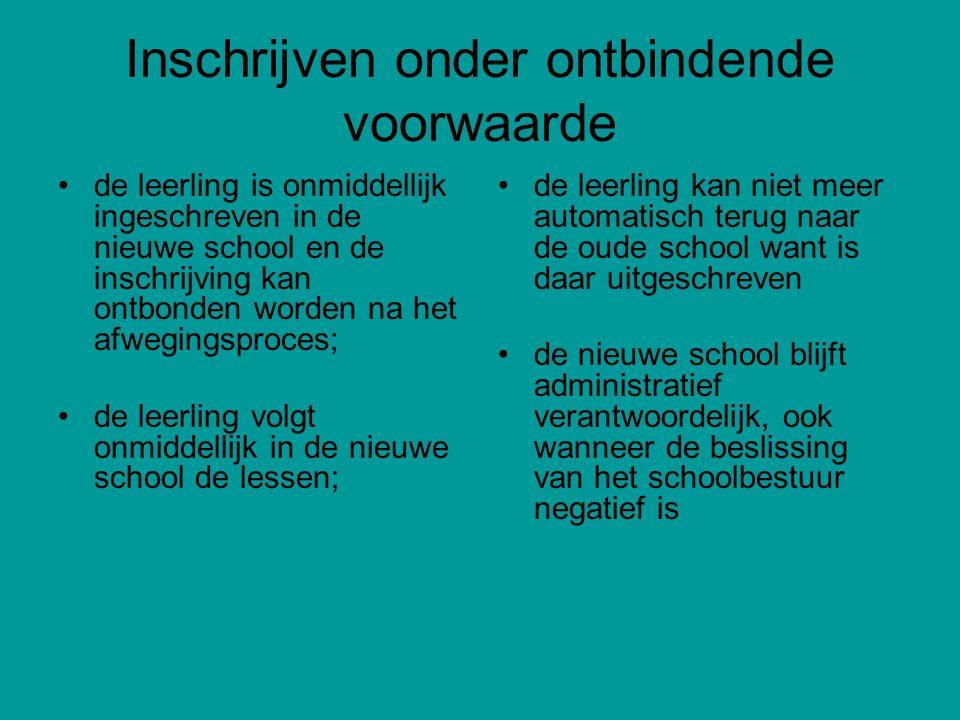 Inschrijven onder ontbindende voorwaarde de leerling is onmiddellijk ingeschreven in de nieuwe school en de inschrijving kan ontbonden worden na het a