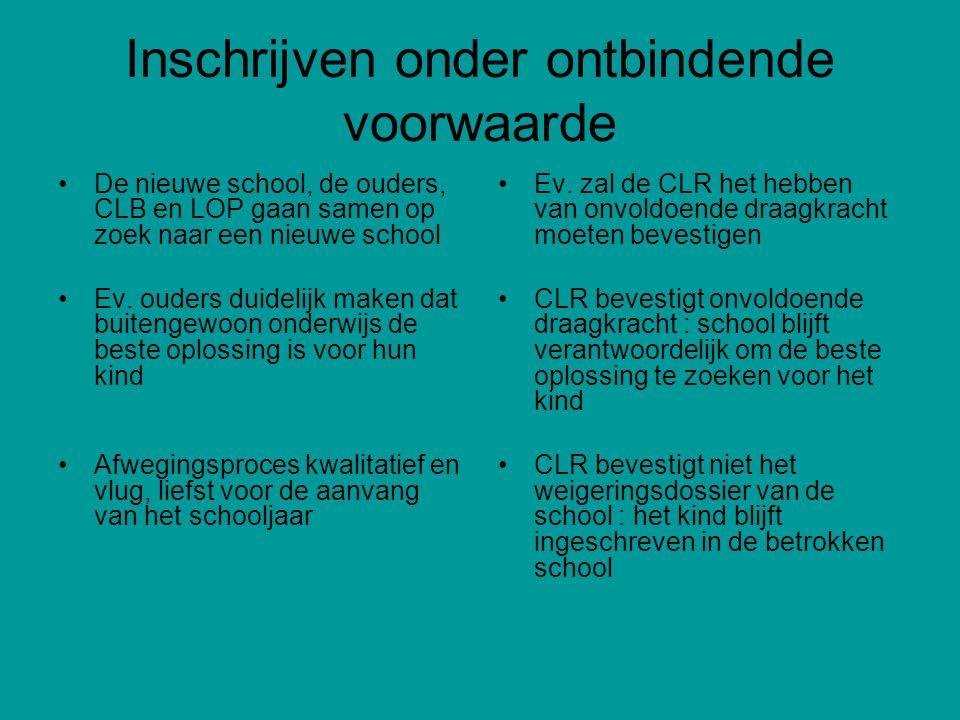 Inschrijven onder ontbindende voorwaarde De nieuwe school, de ouders, CLB en LOP gaan samen op zoek naar een nieuwe school Ev. ouders duidelijk maken