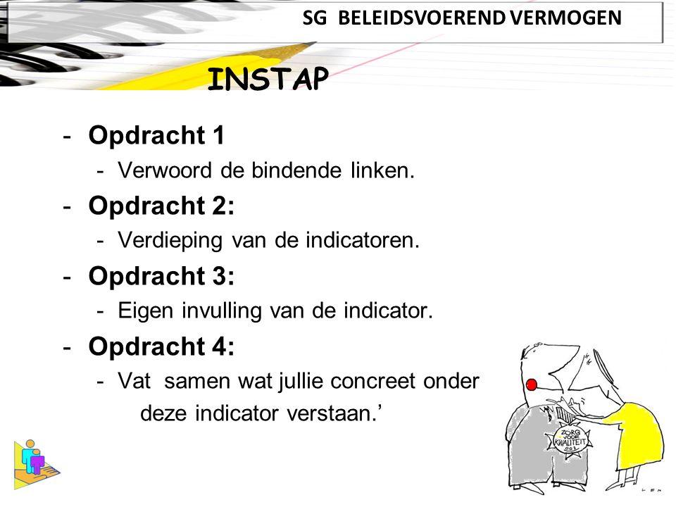 -Opdracht 1 -Verwoord de bindende linken. -Opdracht 2: -Verdieping van de indicatoren.