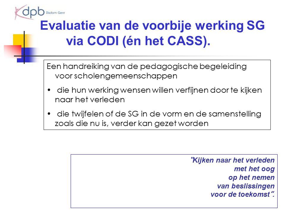 """Evaluatie van de voorbije werking SG via CODI (én het CASS). """" Kijken naar het verleden met het oog op het nemen van beslissingen voor de toekomst """"."""