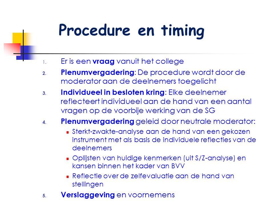 1. Er is een vraag vanuit het college 2. Plenumvergadering : De procedure wordt door de moderator aan de deelnemers toegelicht 3. Individueel in beslo
