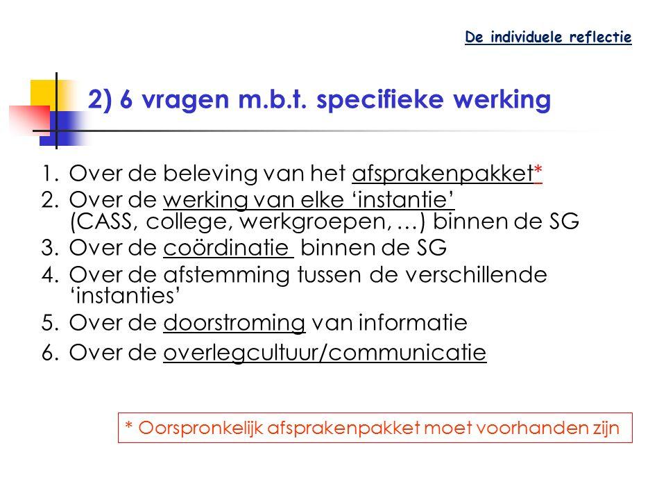 2) 6 vragen m.b.t. specifieke werking 1.Over de beleving van het afsprakenpakket* 2.Over de werking van elke 'instantie' (CASS, college, werkgroepen,