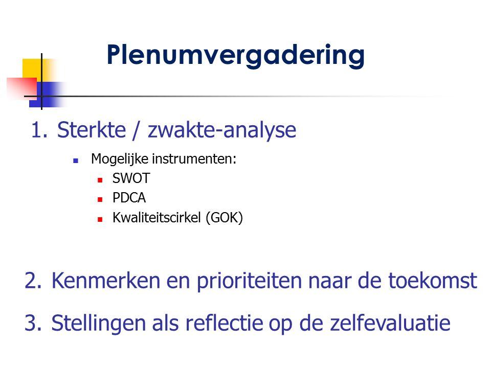 1. Sterkte / zwakte-analyse Mogelijke instrumenten: SWOT PDCA Kwaliteitscirkel (GOK) Plenumvergadering 2. Kenmerken en prioriteiten naar de toekomst 3