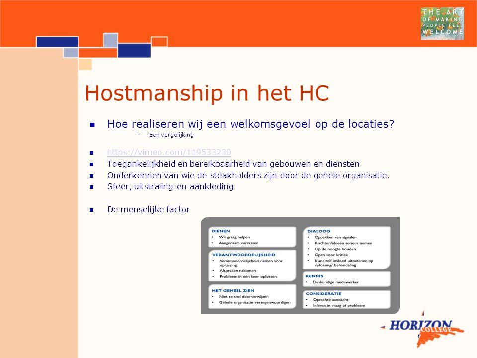 Hostmanship in het HC Hoe realiseren wij een welkomsgevoel op de locaties.