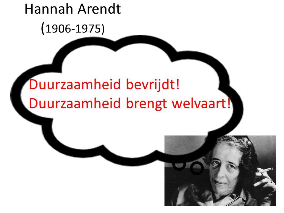 Hannah Arendt ( 1906-1975) Duurzaamheid bevrijdt! Duurzaamheid brengt welvaart!