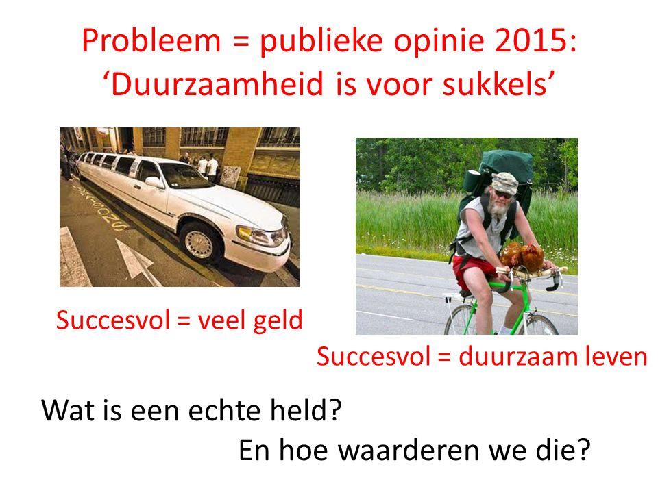 Probleem = publieke opinie 2015: 'Duurzaamheid is voor sukkels' Wat is een echte held.