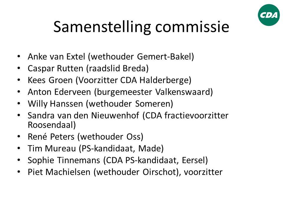 Samenstelling commissie Anke van Extel (wethouder Gemert-Bakel) Caspar Rutten (raadslid Breda) Kees Groen (Voorzitter CDA Halderberge) Anton Ederveen