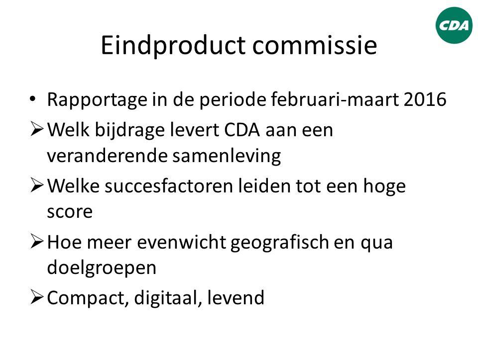 Eindproduct commissie Rapportage in de periode februari-maart 2016  Welk bijdrage levert CDA aan een veranderende samenleving  Welke succesfactoren