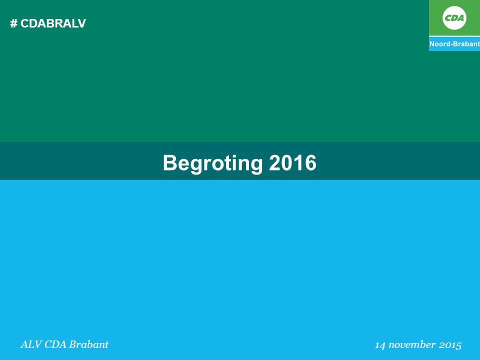 # CDABRALV Begroting 2016 ALV CDA Brabant 14 november 2015