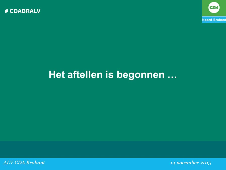 # CDABRALV Het aftellen is begonnen … ALV CDA Brabant 14 november 2015