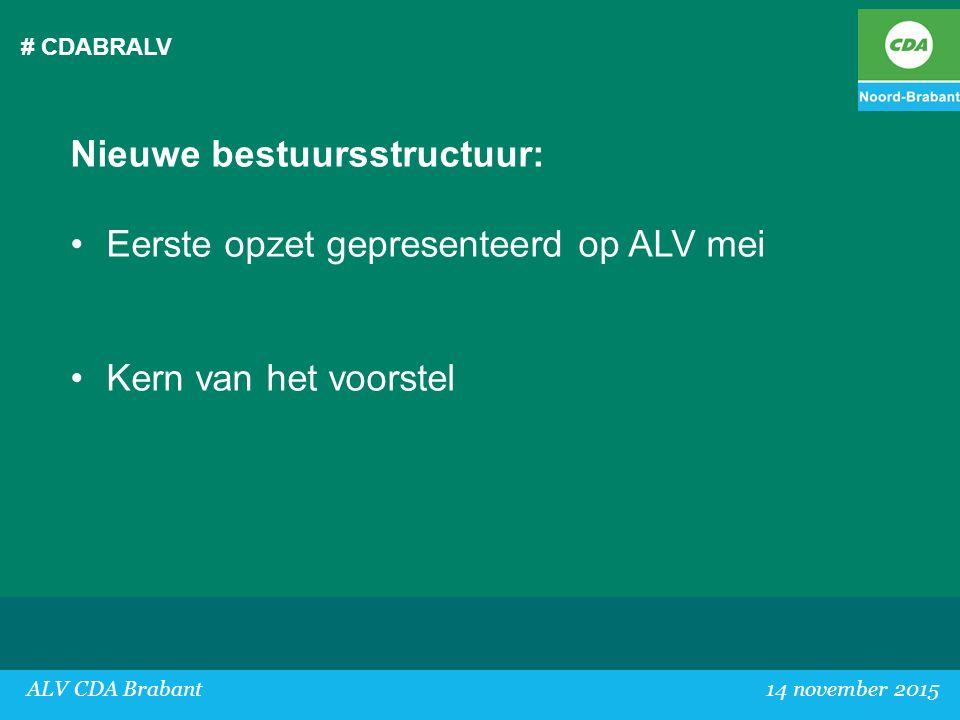 # CDABRALV ALV CDA Brabant 14 november 2015 Nieuwe bestuursstructuur: Eerste opzet gepresenteerd op ALV mei Kern van het voorstel