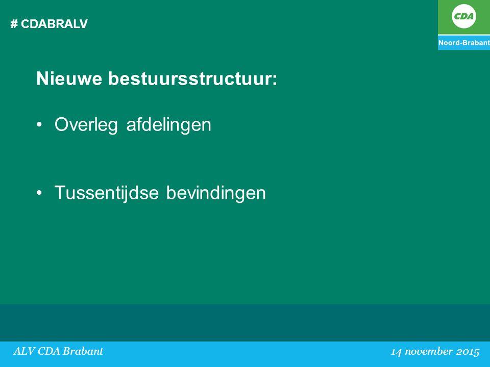 # CDABRALV Nieuwe bestuursstructuur: Overleg afdelingen Tussentijdse bevindingen ALV CDA Brabant 14 november 2015