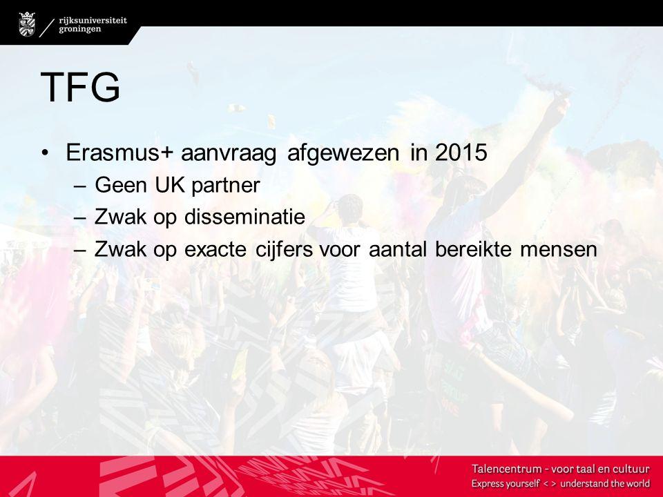 TFG Erasmus+ aanvraag afgewezen in 2015 –Geen UK partner –Zwak op disseminatie –Zwak op exacte cijfers voor aantal bereikte mensen