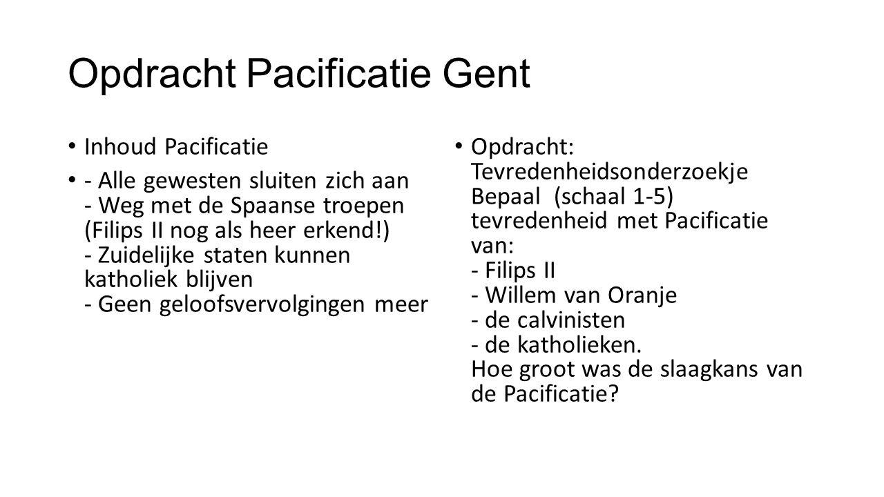 Opdracht Pacificatie Gent Inhoud Pacificatie - Alle gewesten sluiten zich aan - Weg met de Spaanse troepen (Filips II nog als heer erkend!) - Zuidelij
