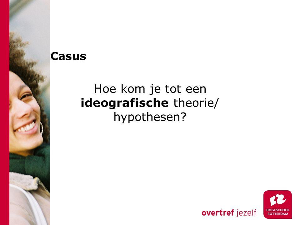 Casus Hoe kom je tot een ideografische theorie/ hypothesen?