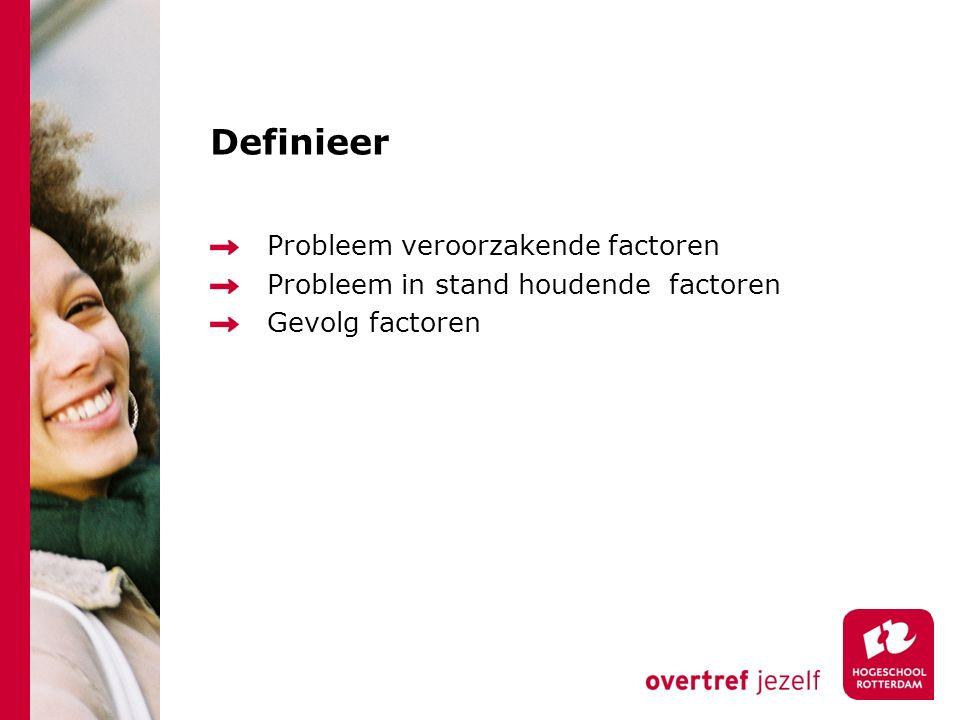 Definieer Probleem veroorzakende factoren Probleem in stand houdende factoren Gevolg factoren